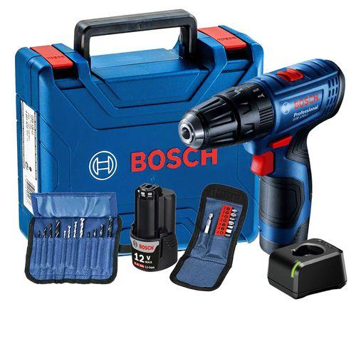 """Parafusadeira e Furadeira de Impacto a Bateria de 3/8"""" Bosch GSB 120-LI 12V com 2 Baterias, 23 Acessórios e Carregador BIVOLT com Maleta"""